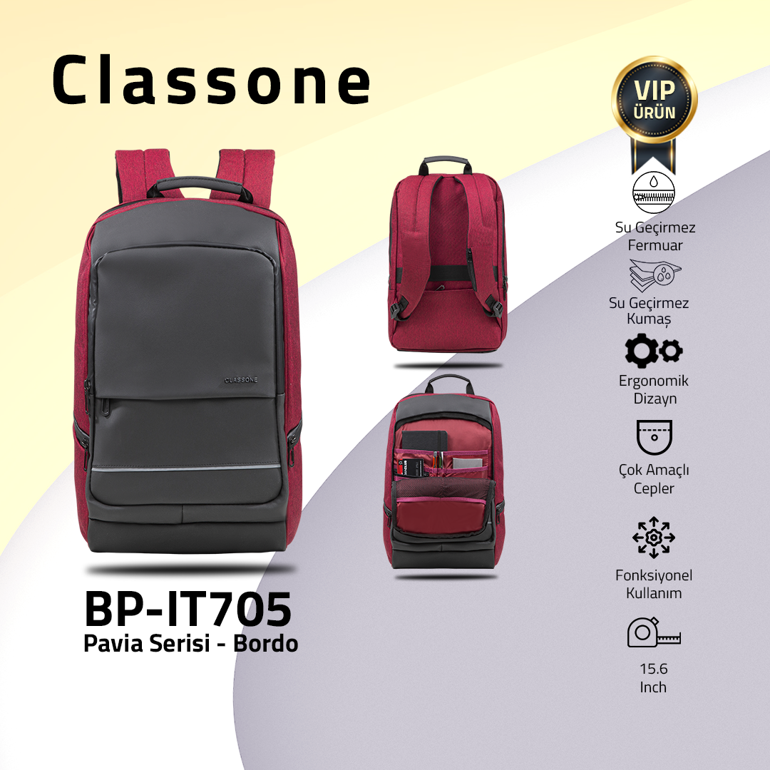 "Classone BP-IT705 Pavia 15.6"" Laptop, Notebook Sırt Çantası -Bordo"