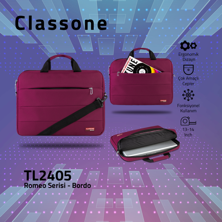 Classone Romeo Medium Serisi 13-14 inch uyumlu Laptop Çantası-Bordo